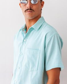 c13713e1a camisa masculina turquesa manga curta resort verao colorbloc