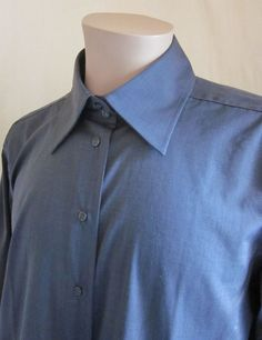 PAGANINI Men's Luxury Designer Charcoal Grey Shirt Size 52 L Large Made in ITALY #Paganini #ButtonFront