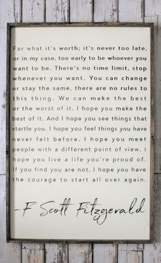 Incredible F. Scott Fitzgerald Quote, Wood Sign. Inspiring Quotes. Rustic Decor. Fixer Upper. Modern Farmhouse wall art. Farmhouse Decor. Housewarming gift idea, Inspirational decor, Rustic sign, Living room sign, office decor, home decor #ad The post F. Scott Fitzgerald Qu ..