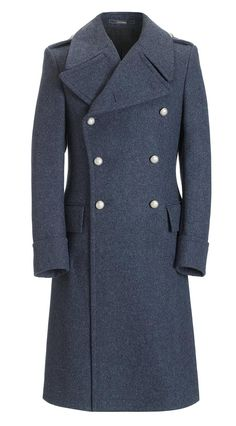 Crombie Coat WWII military coat with chalk-filled brass buttons, raw wool Military Fashion, Mens Fashion, Navy Military, Crombie Coat, Man's Overcoat, Air Force Blue, Mens Winter Coat, Winter Coats, Gentleman Style