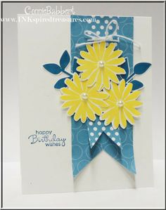 handmade card ...  blue, yellow, white ... Secret Garden ... yellow flowers on blue banners ...