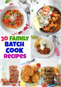 20 Delicious & Easy Family Recipes That You Can Batch Cook For Busy Days! 20 Delicious & Easy Family Recipes That You Can Batch Cook For Busy Days! Healthy Family Meals, Healthy Meals For Kids, Kids Meals, Healthy Recipes, Daycare Meals, Tasty Meals, Cheap Recipes, Healthy Breakfasts, Healthy Sweets