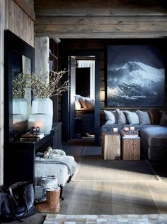 Modern Cabin Decor Pin By On Cabin Room And Cabin Fever Modern Mountain Cabin Decor Chalet Design, Chalet Style, House Design, Lodge Style, Ski Chalet, Log Home Decorating, Interior Decorating, Interior Design, Decorating Ideas