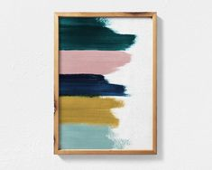 Abstract Painting Featuring Teal, Mustard, Navy Blue and Blush Pink Brush Strokes, Contemporary Printable Wall Art, Teal Decor Abstract Art - Diy Wall Art Art Diy, Diy Wall Art, Diy Artwork, Unique Wall Art, Painted Wall Art, Painted Feature Wall, Wall Art Crafts, 3 Piece Wall Art, Contemporary Wall Art