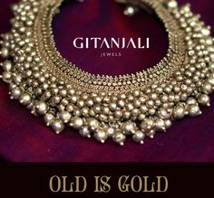 Indian Jewellery and Clothing: Antique gold bridal necklace from Gitanjali Jewels. Ankle Jewelry, Tribal Jewelry, Silver Jewelry, Feet Jewelry, Silver Earrings, Collar Hippie, Silver Anklets, Silver Payal, Payal Designs Silver