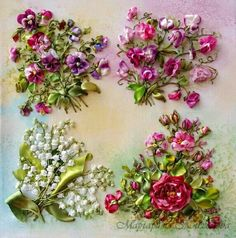 Ribbon embroidery, so realistic I can almost smell the flowers: