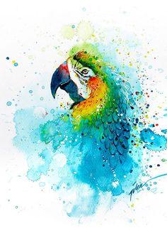 Попугай акварель, картина
