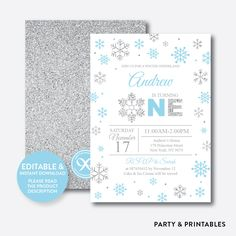Silver Blue Winte... http://partyandprintables.com/products/silver-blue-winter-onederland-glitter-kids-birthday-invitation-editable-instant-download-gkb-04b?utm_campaign=social_autopilot&utm_source=pin&utm_medium=pin #partyprintables #birthdayinvitation #partysupplies #partydecor #kidsbirthday #babyshower