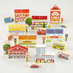 Kids' Toys: Colorful Wooden City Block Set in Building Blocks