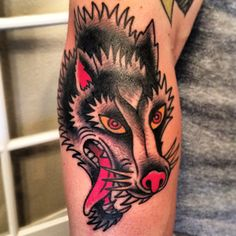 Wolf tattoo by Oliver Peck