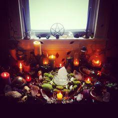 altar, bones, feathers, candles, stones
