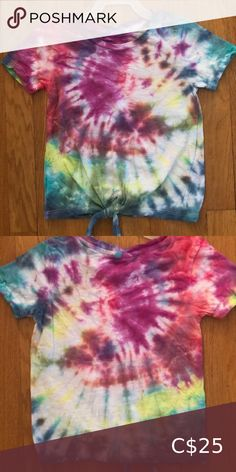 Girls Tie Dye T-shirt size XS 4/5 My 9 year old ambitious daughter decided she wanted to open her own tie dye business and would like to give $5 for each piece sold to the food bank in her community.   Her name is Diana and she designs all her own clothing.   They are brand new and never been worn. Custom orders welcome.  Help support little dreams! Shirts & Tops Tees - Short Sleeve Tie Up Shirt, Tie Dye Shorts, Dye T Shirt, Shirts For Girls, Kids Shirts, Pineapple Shirt, Under Armour Girls, Turtleneck Shirt, Food Bank