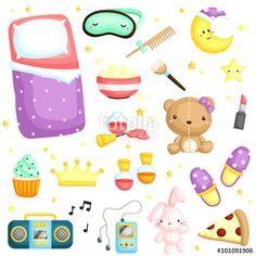 Vettoriale: Slumber Party Items