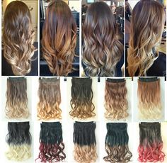 Dip dye Clip in on Ombre Hair Extensions Synthetic Straight Curly Wavy Xmas Gift in Women's Hair Extensions | eBay