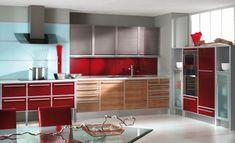 muebles color rojo vidrio madera