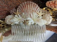 Flowered Beach Wedding Comb with Sea Inspiration- Scallop, Sea Fan, Starfish, Pearl Delphina, and other Pearlized Shell Accents - product images  of