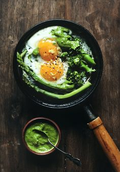 Stovetop Eggs with Broccoli, Asparagus, Lemon Zest, & Pesto