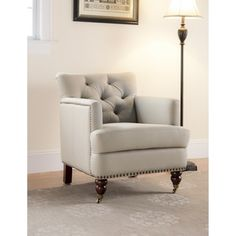 Colin Tufted Tub Chair - Cream - Safavieh Home Furnishings (with studs) Living Room Seating, Living Room Chairs, Living Area, Living Rooms, Tufting Buttons, Home Living, Modern Living, Club Chairs, Decoration