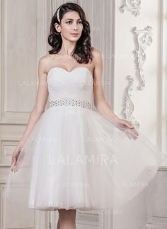 a90ee4804df9 Sweetheart A-Line/Princess Wedding Dresses Tulle Ruffle Beading Sequins  Sleeveless Knee-Length (002059202)