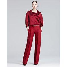 Oscar de la Renta Drape-Neck Satin Blouse & Pleated Wide-Leg Trousers ($356) ❤ liked on Polyvore
