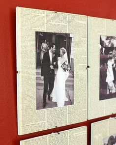 Wedding picture with newspaper clipping behind it.