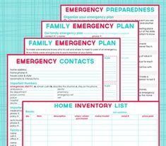 Emergency kit printables and a lot more helpful printables