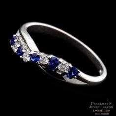 Diamond Sapphire Infinity Eternity Wedding Ring Band 18K White Gold