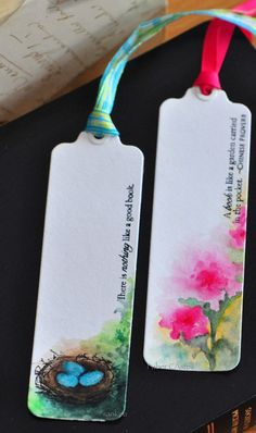 DIY Tutorial All Booked Up - watercolor bookmarks Watercolor Bookmarks, Watercolor Pencils, Watercolor Cards, Watercolors, Watercolor Books, Paper Bookmarks, Crochet Bookmarks, Watercolor Trees, Watercolor Animals