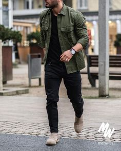 mens fashion rugged in 2019 pakaian kasual pria, pakaian Best Business Casual Outfits, Stylish Mens Outfits, Checked Shirt Outfit, Denim Look, Winter Fashion Casual, Casual Winter, Men With Street Style, Rock Style Men, Herren Outfit