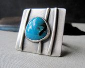 Tendril Ring - Sterling Silver and Turquoise Stone Cabochon Cocktail Ring - Statement Piece