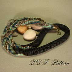 beaded crochet rope necklace zigzag pattern and brief by rovenaRu