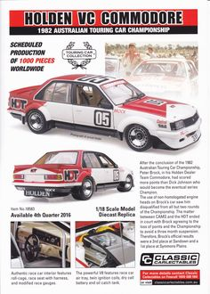 Pre Order 1:18 scale Peter Brock #05 Holden VC Commodore 1982 Australian Touring Car Championship. Model features opening doors and bonnet to reveal detailed engine. Comes with certificate of authenticity. Scheduled Production of 1000