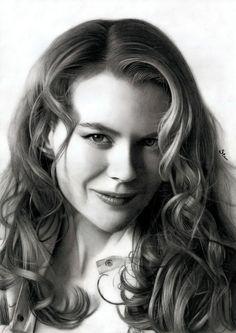 Pencil art portrait Nicole Kidman by Stan Bossard Nicole Kidman, Realistic Pencil Drawings, Amazing Drawings, Art Drawings, Celebrity Drawings, Celebrity Portraits, Celebridades Fashion, Graphite Art, How To Draw Hair