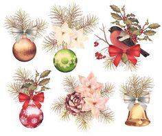 Christmas retro watercolor composition set