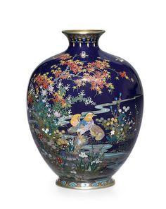 Style of Hayashi Kodenji A cloisonné-enamel vaseMeiji era (1868-1912), late 19th century