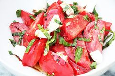 If tomatoes are good I can eat Caprese salad all summer long. I especially love a good heirloom tomato. I never liked tomatoes until later in life and used to cringe when my grandmother would pluck one from the garden on a warm summer morning, wipe it on her apron and take a bite. What the? Now I get it! I wish I could turn back the clock because everything that came out of that garden was the best of the best. I really missed out.