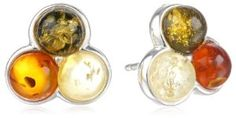 Sterling Silver Multi-color Amber Stud Earrings available at joyfulcrown.com