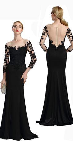 Long sleeves lace mermaid evening dress formal dress