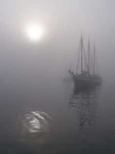 Tall ships off Maine coast in fog with watery sun. Gordon Thorne photo