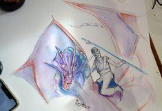 que personne ne verra ;)  crayon aquarelle sur papier Dragons, Dragon Rider, Princess Zelda, Fictional Characters, Art, Watercolor Painting, Paper, Art Background, Kunst