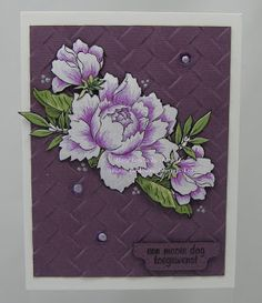 Kaarten à la Janette: Altenew Peony Bouquet card Handmade Birthday Cards, Greeting Cards Handmade, Purple Cards, Altenew Cards, Card Sentiments, Embossed Cards, Beautiful Handmade Cards, Stamping Up Cards, Marianne Design