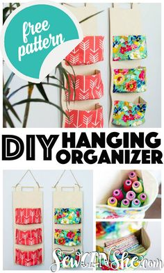 DIY Hanging Organizer - Free Sewing Pattern, DIY and Crafts, The hanging organizers have generous half-circle baskets that can hold all kinds of things. In my studio, I& filling them with pre-cut fabrics, t. Sewing Hacks, Sewing Tutorials, Sewing Crafts, Sewing Tips, Sewing Ideas, Tutorial Sewing, Hanging Organizer, Diy Hanging, Pocket Organizer