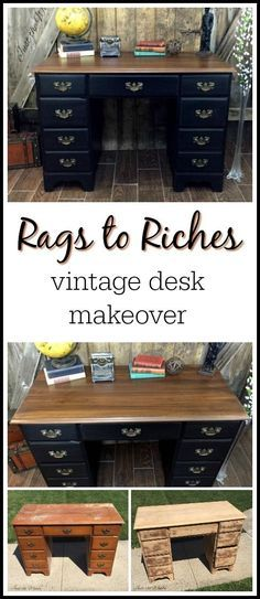 Old beaten up vintage desk has been saved. With an electric sander, wood stain and black paint, this vintage desk received a rags to riches makeover