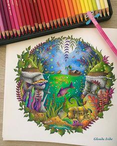 Enchanted forest de Johanna Basford...Faber Castell Polychromos y posca...#enchantedforest #enchantedforestcoloringbook…
