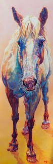 """Colorful Contemporary Horse Art Equine Painting """"Sun Drop"""" © Contemporary Animal Artist Patricia A. Griffin-72""""x24""""Oil on Linen-Available"""