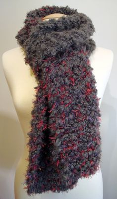 Handmade knitted chunky, long, very soft, grey scarf mixed with pink / purple fuzzy yarn