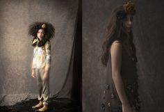 Bonnie Young fall 2013 lookbook, antique looking floral prints and applique details for kids fashion