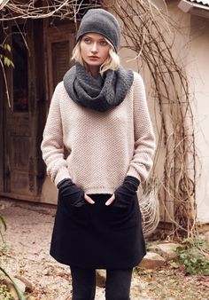 Black Felted Wool Skirt and cashmere beanie