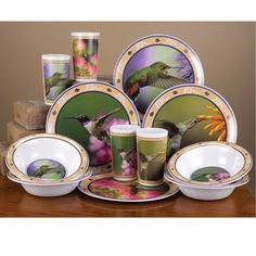 Hummingbird Dinnerware Set.....eat indoors or outside...our Exclusive design.