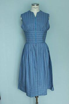 Vintage dirndl dirndl dress blue dress cotton ethno size Cotton Dresses, Blue Dresses, Summer Dresses, Dirndl Dress, Tiny Flowers, Unique, Floral, Fashion, Oktoberfest